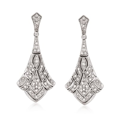 .33 ct. t.w. Diamond Art Deco-Style Drop Earrings in Sterling Silver