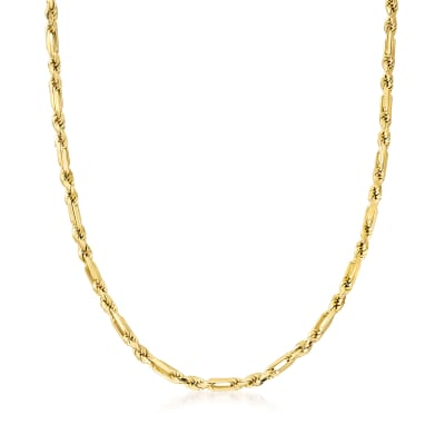 Italian 14kt Yellow Gold 4.5mm Figarope Chain Necklace