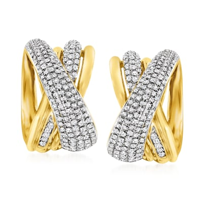 1.25 ct. t.w. Diamond Highway-Style Hoop Earrings in 18kt Yellow Gold