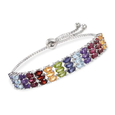 7.80 ct. t.w. Multi-Stone Bolo Bracelet in Sterling Silver