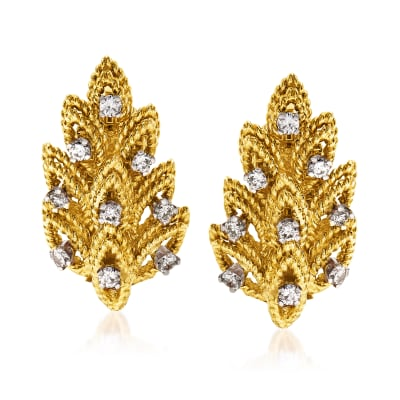 C. 1980 Vintage Tiffany Jewelry .55 ct. t.w. Diamond Leaf Clip-On Earrings in 18kt Yellow Gold