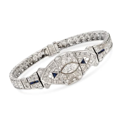 C. 1950 Vintage 3.00 ct. t.w. Diamond and .32 ct. t.w. Synthetic Sapphire Bracelet in 18kt White Gold