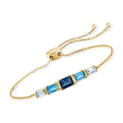 3.10 ct. t.w. Tonal Blue Topaz Bolo Bracelet in 18kt Gold Over Sterling