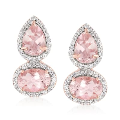 2.80 ct. t.w. Morganite and .30 ct. t.w. White Zircon Drop Earrings in 18kt Rose Gold Over Sterling
