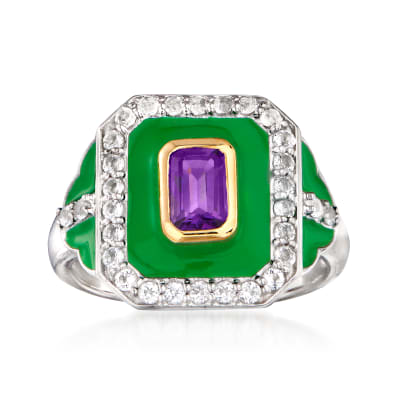 .50 Carat Amethyst, .50 ct. t.w. White Topaz and Green Enamel Ring in Sterling Silver with 14kt Yellow Gold