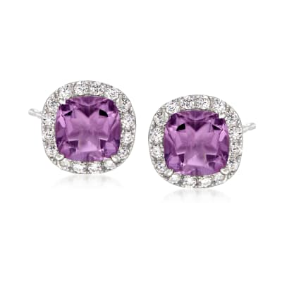 3.50 ct. t.w. Amethyst and .60 ct. t.w. White Topaz Stud Earrings in Sterling Silver
