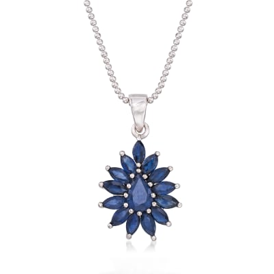 2.60 ct. t.w. Sapphire Cluster Pendant Necklace in Sterling Silver
