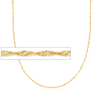 Italian 18kt Yellow Gold Diamond-Cut Singapore Chain Necklace