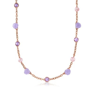 C. 1990 Vintage 8mm Violet Cultured Pearl, 22.00 ct. t.w. Violet Jade and 6.70 ct. t.w. Amethyst Necklace in 18kt Rose Gold