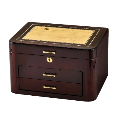 Bubinga Wood and Burlwood Veneer Locking Jewelry Box