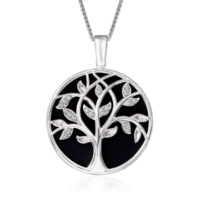 .70 ct. t.w. CZ Tree of Life Mirror and Magnifier Adjustable Necklace in Sterling Silver