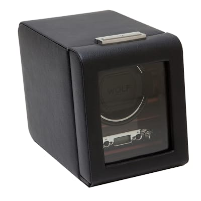 """Roadster"" Black and Ebony Macassar Single Watch Winder with Cover by Wolf Designs"