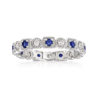 .25 ct. t.w. Diamond and .20 ct. t.w. Sapphire Eternity Band in Sterling Silver