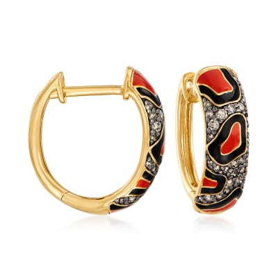 .42 ct. t.w. Brown Diamond Animal-Print Ring with Enamel in 18kt Gold Over Sterling