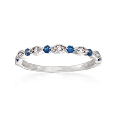 Henri Daussi .11 ct. t.w. Sapphire and Diamond Accent Wedding Ring in 18kt White Gold