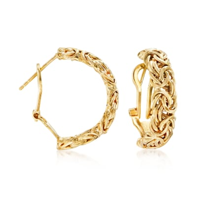 18kt Yellow Gold Over Sterling Silver Byzantine Hoop Earrings