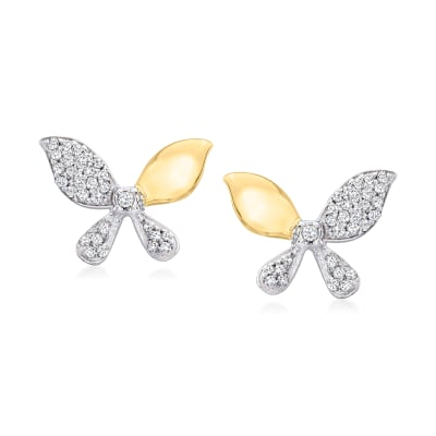 .15 ct. t.w. Diamond Butterfly Earrings in Sterling Silver and 14kt Yellow Gold