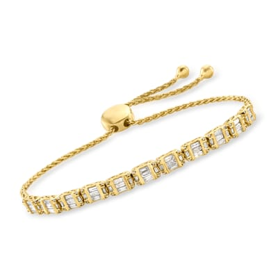 1.00 ct. t.w. Diamond Bolo Bracelet in 18kt Gold Over Sterling