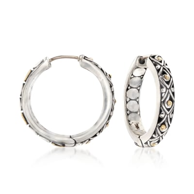 "Phillip Gavriel ""Dragonfly"" Sterling Silver and 18kt Gold Hoop Earrings"