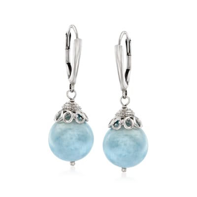 20.00 ct. t.w. Milky Aquamarine Drop Earrings in Sterling Silver