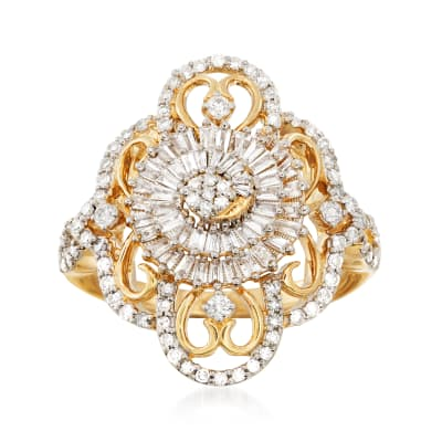 .85 ct. t.w. Diamond Openwork Spiral Ring in 14kt Yellow Gold