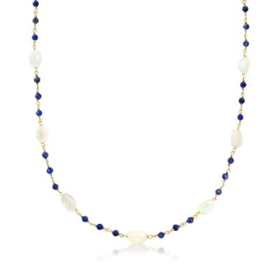 Opal and Lapis Necklace in 18kt Gold Over Sterling