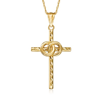 14kt Yellow Gold Marriage Cross Pendant Necklace