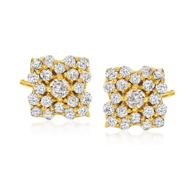 .40 ct. t.w. Diamond Flower Stud Earrings in 18kt Gold Over Sterling