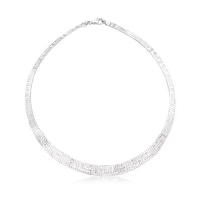 Italian Sterling Silver Greek Key Cleopatra Necklace