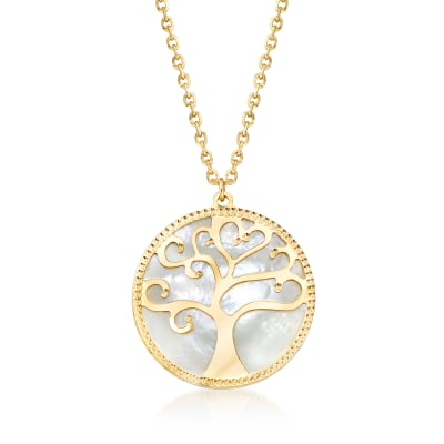 Italian Black and White Mother-Of-Pearl Tree of Life Reversible Necklace in 14kt Yellow Gold