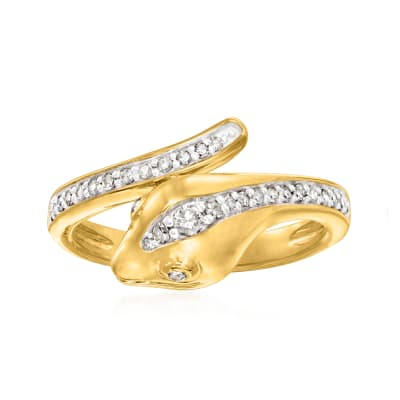 .25 ct. t.w. Diamond Snake Bypass Ring in 18kt Gold Over Sterling