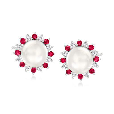7-7.5mm Cultured Pearl and .40 ct. t.w. Ruby Earrings with .40 ct. t.w. White Sapphire in Sterling Silver