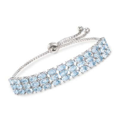10.00 ct. t.w. Sky Blue Topaz Three-Row Bolo Bracelet in Sterling