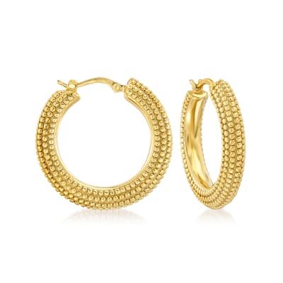 Italian 18kt Gold Over Sterling Beaded Hoop Earrings