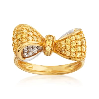 4.70 ct. t.w. Yellow and White CZ Bow Ring in Sterling Silver and 18kt Gold Over Sterling