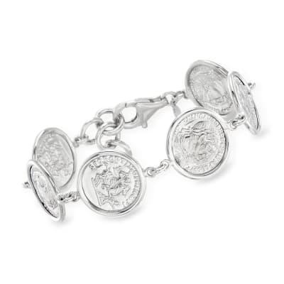 Italian Sterling Silver Replica Coin Bracelet