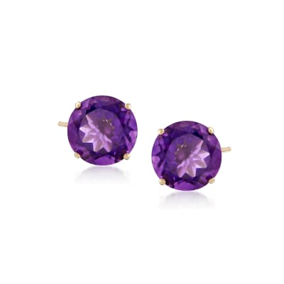 4.20 ct. t.w. Amethyst Stud Earrings in 14kt Yellow Gold