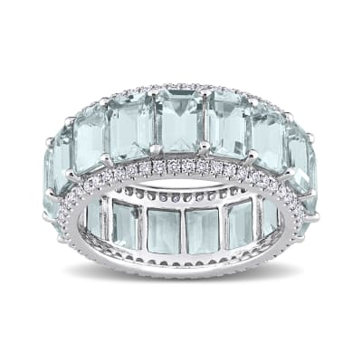 8.25 ct. t.w. Aquamarine Eternity Band with .57 ct. t.w. Diamonds in 14kt White Gold