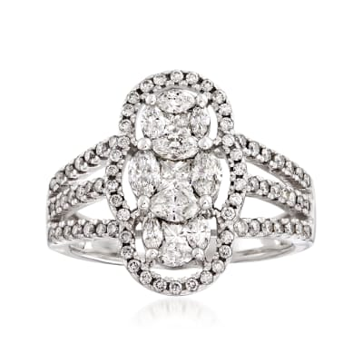 1.30 ct. t.w. Three-Stone Diamond Ring in 14kt White Gold