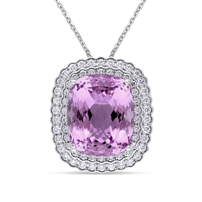 40.00 Carat Kunzite and 1.90 ct. t.w. Diamond Necklace in 14kt White Gold