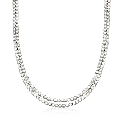 "Zina Sterling Silver ""Ice Cube"" Double Chain Necklace"