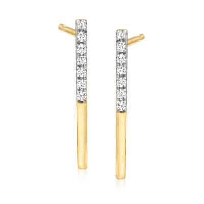.12 ct. t.w. Diamond Bar Drop Earrings in 14kt Yellow Gold