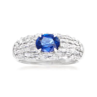 C. 2000 Vintage .97 Carat Sapphire and 1.03 ct. t.w. Diamond Ring in Platinum