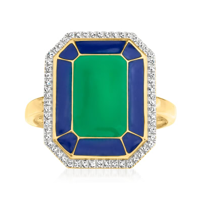 Blue and Green Enamel Ring with .12 ct. t.w. Diamonds in 18kt Gold Over Sterling