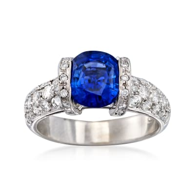 C. 2000 Vintage 2.30 Carat Sapphire and .75 ct. t.w. Diamond Ring in 18kt White Gold