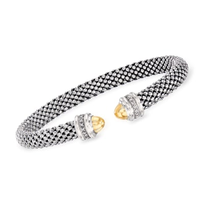 "Phillip Gavriel ""Popcorn"" Cuff Bracelet with Diamond Accents in Sterling Silver and 18kt Yellow Gold"