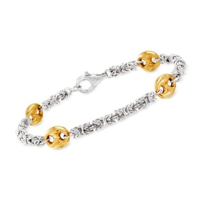 Sterling Silver Byzantine Bracelet with 18kt Gold Over Sterling Stations