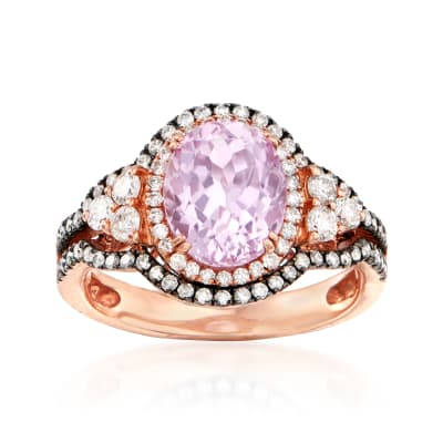 3.60 Carat Kunzite and .85 ct. t.w. Diamond Ring in 14kt Rose Gold