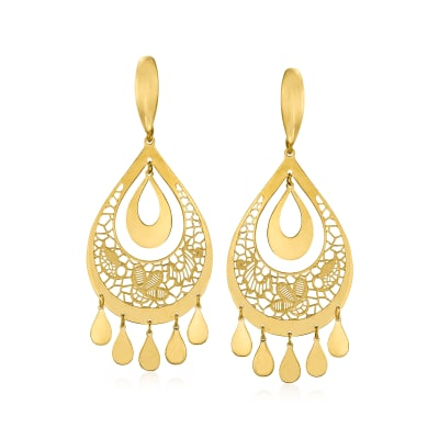 Italian 18kt Yellow Gold Filigree Teardrop Earrings