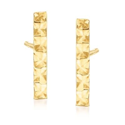 14kt Yellow Gold Bar Earrings